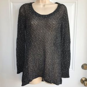 Eileen Fisher Black Variegated Tunic Sweater EUC